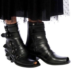 Burberry Albertina Leather Buckle Boot EUR38.5